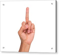Cropped Image Of Person Showing Middle Finger Against White Background Acrylic Print by Wichai Treethidtaphat / EyeEm