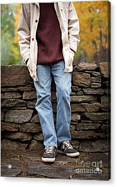 Cropped Man Standing Against A Stone Wall Acrylic Print