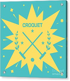 Croquet. Vintage Background With Clubs Acrylic Print