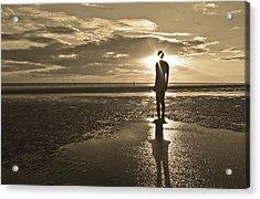 Crosby Beach Sepia Sunset Acrylic Print by Paul Madden