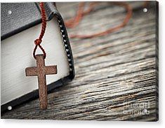 Cross And Bible Acrylic Print