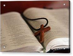 Cross And Bible Acrylic Print