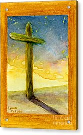 Cross At Dawn In Blue And Gold Sunrise Acrylic Print