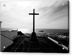 Cross Atop Old Chapel In Village  Acrylic Print