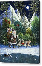 Cross-country Santa Acrylic Print by Lynn Bywaters