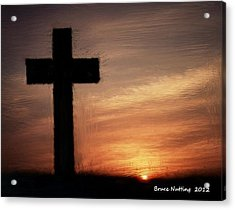 Cross In The Sunset Acrylic Print by Bruce Nutting