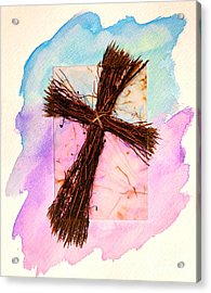 Cross Of Sticks Acrylic Print by Pattie Calfy