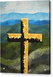 Cross Of The Mountain Ridges Acrylic Print by Ralph Loffredo