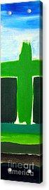 Green Cross On Hill Acrylic Print