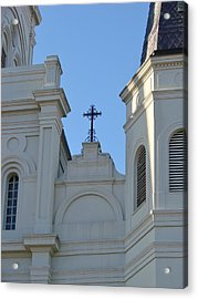 Cross On The Cathedral Acrylic Print by Margaret Bobb