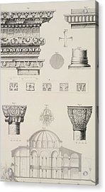 Cross Section And Architectural Details Of Kutciuk Aja Sophia The Church Of Sergius And Bacchus Acrylic Print by D Pulgher