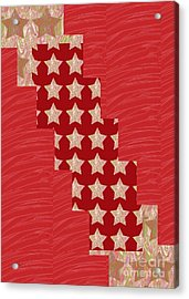 Cross Through Sparkle Stars On Red Silken Base Acrylic Print by Navin Joshi