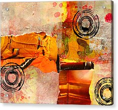 Cross Town Bus Abstract Collage Painting Acrylic Print