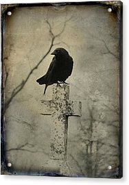 Crow On A Crooked Old Cross Acrylic Print