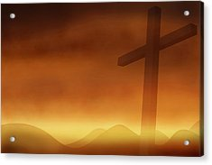 Cross With The Sunset  Background Acrylic Print by Somkiet Chanumporn