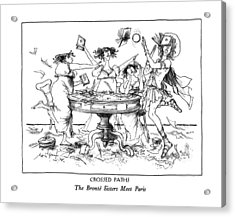 Crossed Paths The Bronte Sisters Meet Paris Acrylic Print by Ronald Searle