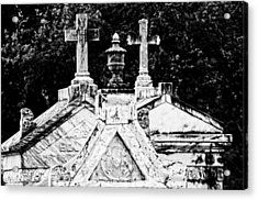 Crosses Of Metairie Cemetery Acrylic Print by Andy Crawford