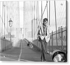 Acrylic Print featuring the photograph Crossing Brooklyn Bridge by Dave Beckerman