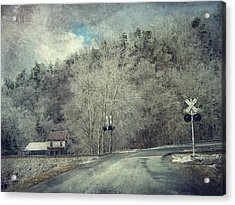 Crossing Into Winter Acrylic Print by Kathy Jennings