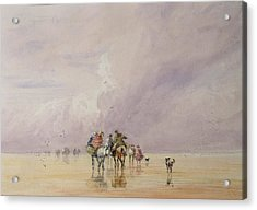 Crossing Lancaster Sands Acrylic Print by David Cox