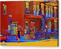 Crossing Laurier Depanneur Maboule Tabagie Biere Et Vin Montreal Street Scene Art By Carole Spandau Acrylic Print by Carole Spandau