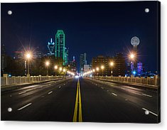 Crossing The Bridge To Downtown Dallas At Night Acrylic Print