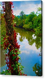 Crossing The Little Tennessee River Acrylic Print by Robert J Sadler