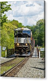 Crossing The Railroad Trestle Acrylic Print