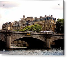 Crossing The Seine Acrylic Print by Lauren Leigh Hunter Fine Art Photography
