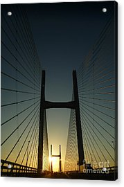 Acrylic Print featuring the photograph Crossing The Severn Bridge At Sunset - Cardiff - Wales by Vicki Spindler
