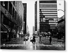 crosswalk at west georgia and hornby downtown in the rain Vancouver BC Canada Acrylic Print by Joe Fox