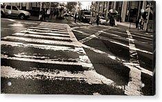 Crosswalk In New York City Acrylic Print by Dan Sproul