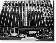 Crosswalk Leading To Penn Station And Madison Square Garden Seventh Avenue New York City Acrylic Print by Joe Fox