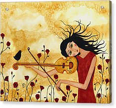 Crow Bird Blackbird Raven Music  Violin Floral Poppy  Whimsical Folk Debi Hubbs Children Art Acrylic Print by Debi Hubbs