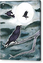 Crow Moon Acrylic Print by D Renee Wilson