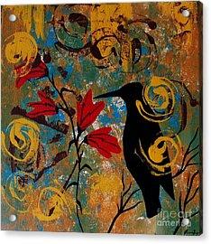 Crow Healing In The Ancient Garden Acrylic Print