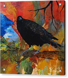 Crow On A Branch Acrylic Print