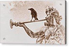 Crow On Trumpet Acrylic Print by Henry Kowalski