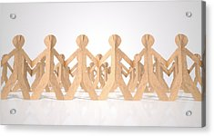 Crowd Of Cutout Paper Cardboard Men Acrylic Print