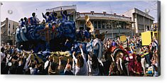 Crowd Of People Cheering A Mardi Gras Acrylic Print by Panoramic Images
