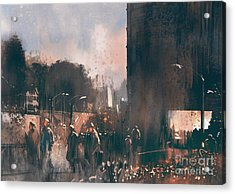 Crowd Of People Walking In The Acrylic Print