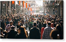 Crowded Istiklal Street In Istanbul Acrylic Print by Filadendron