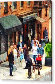 Crowded Sidewalk In New York Acrylic Print by Susan Savad