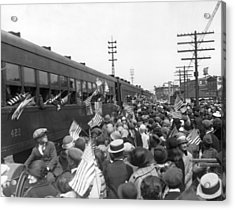 Crowds Cheer Ny Train Service Acrylic Print by Underwood Archives