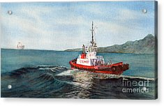 Crowley Tug Acrylic Print by Sandy Linden