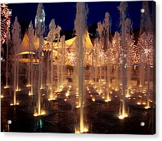 Crown Center Fountain At Christmas Acrylic Print by Ellen Tully