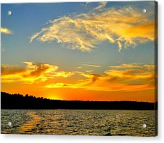 Crown Lake  Sunset  Retired Ahhh Acrylic Print by Cindy Croal