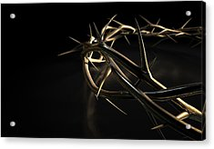 Crown Of Thorns Gold On Black Acrylic Print by Allan Swart