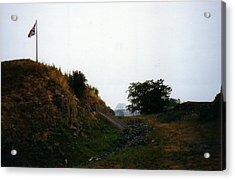 Crown Point Flag And Bridge Acrylic Print