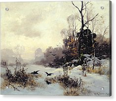 Crows In A Winter Landscape Acrylic Print by Karl Kustner
